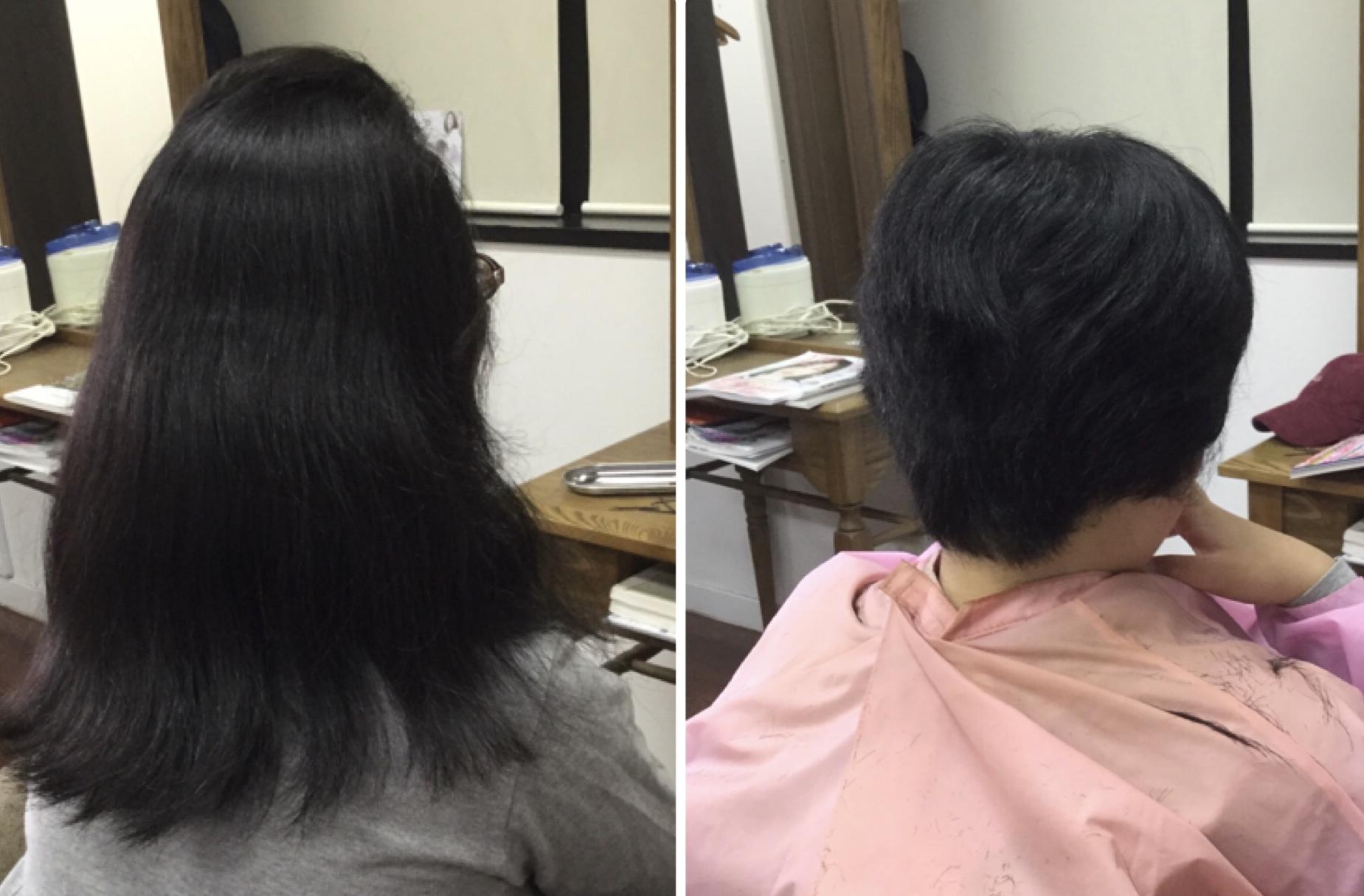 髪の量が多く、くせ毛でも【スキハサミを使わないキュビズムカット®︎】でロングからショートカットに